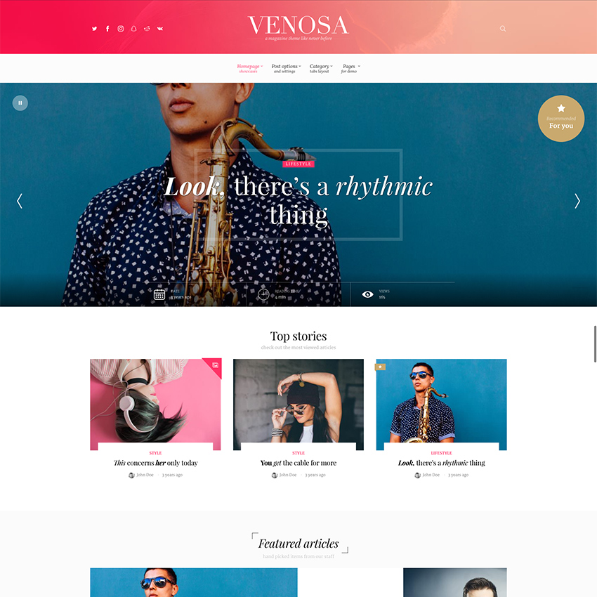Venosa - Magazine, Blog and News Viral WordPress Theme